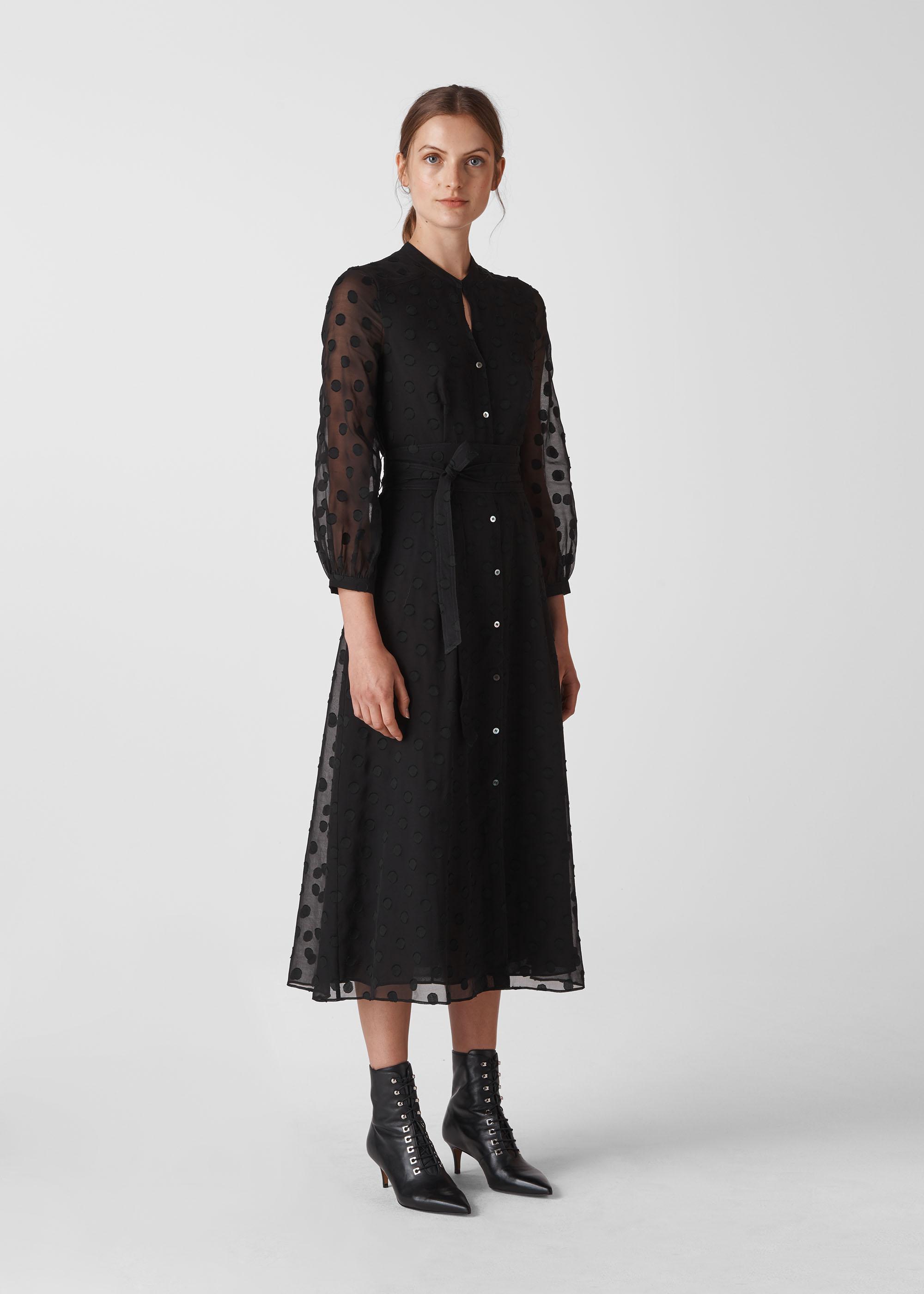 Whistles Women Dobby Tie Waist Midi Dress