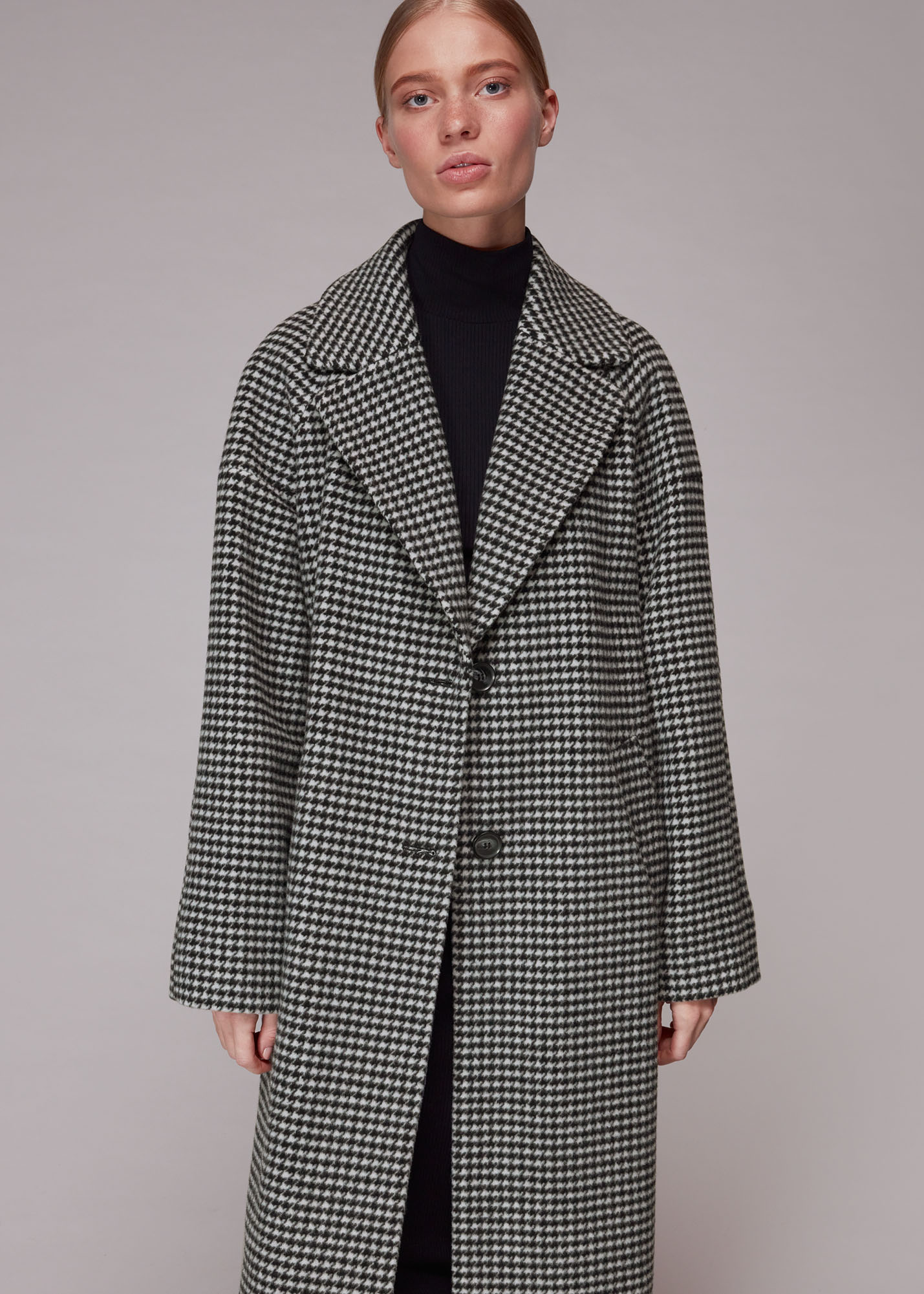 Whistles Women Mini Check Cocoon Coat