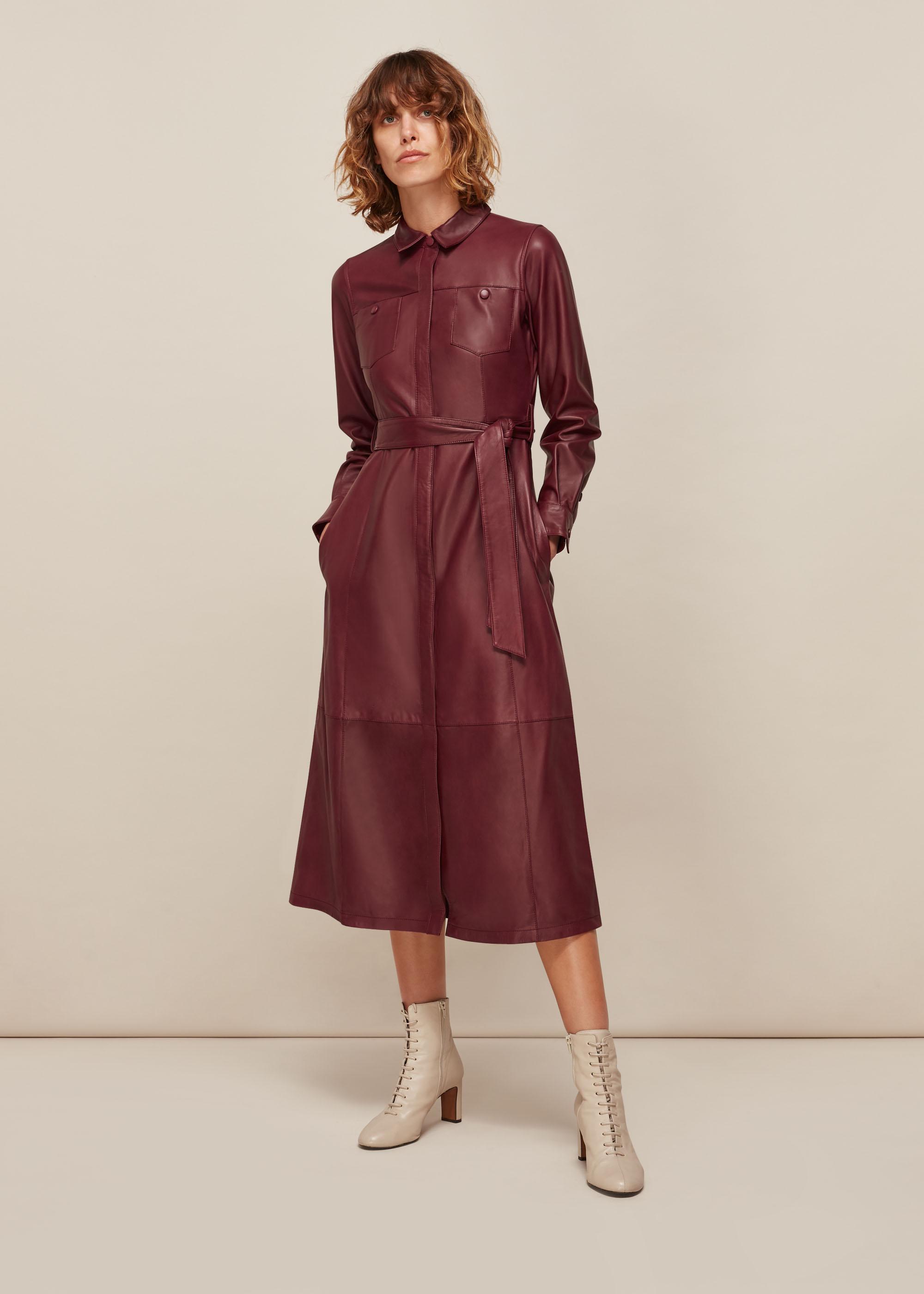 Whistles Women Leather Shirt Dress