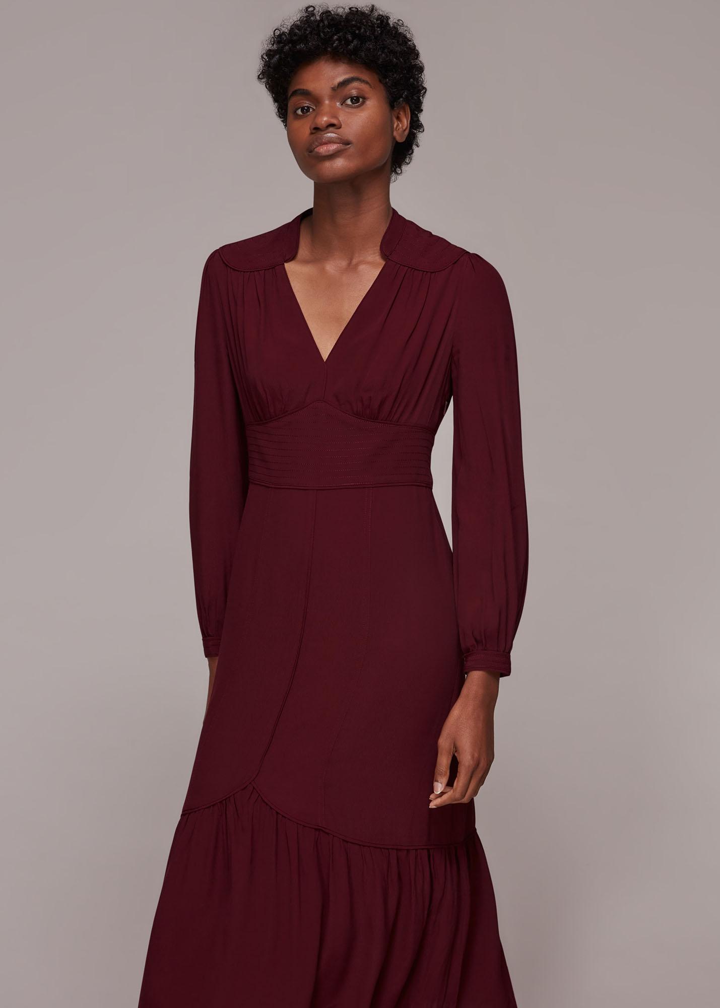 Whistles Women Topstitch Detail Midi Dress