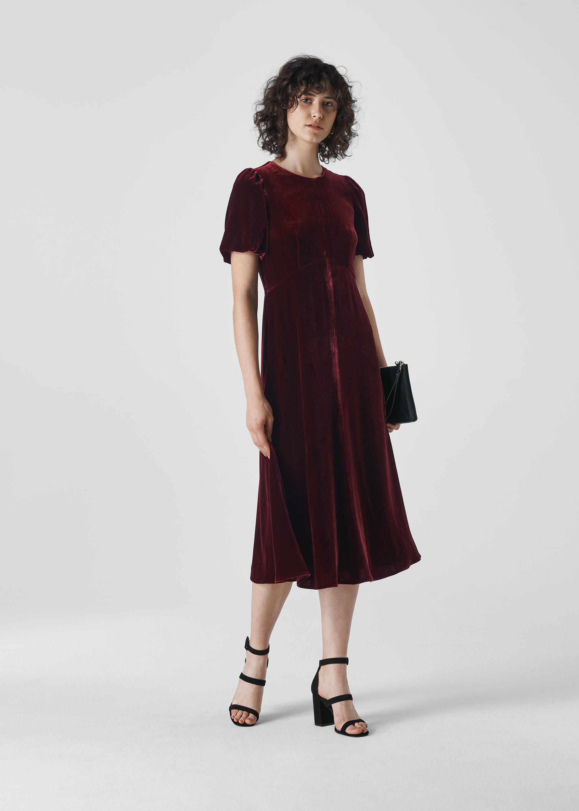 Whistles Women Vilimina Silk Mix Velvet Dress