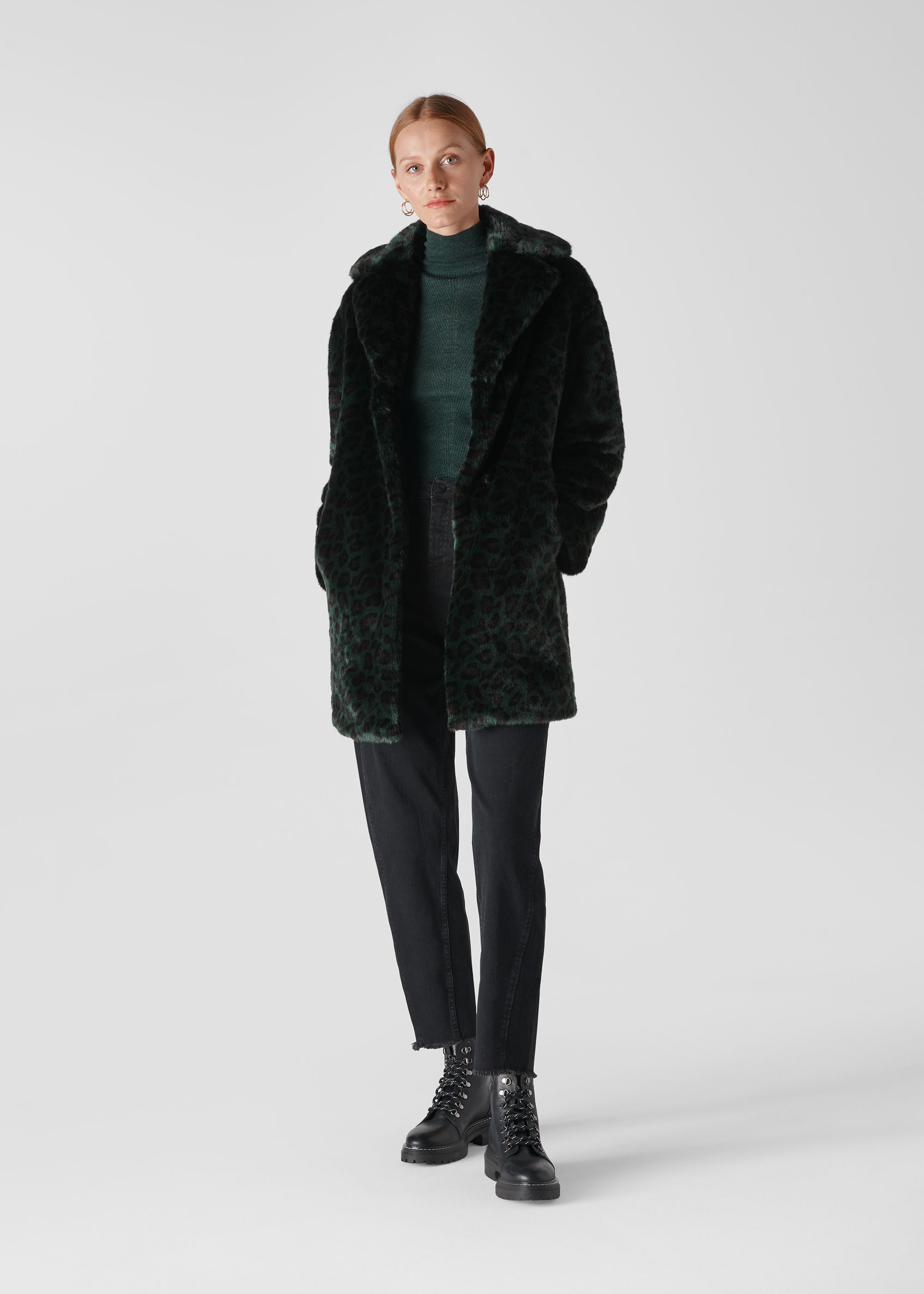 Whistles Women Frankie Faux Fur Animal Coat