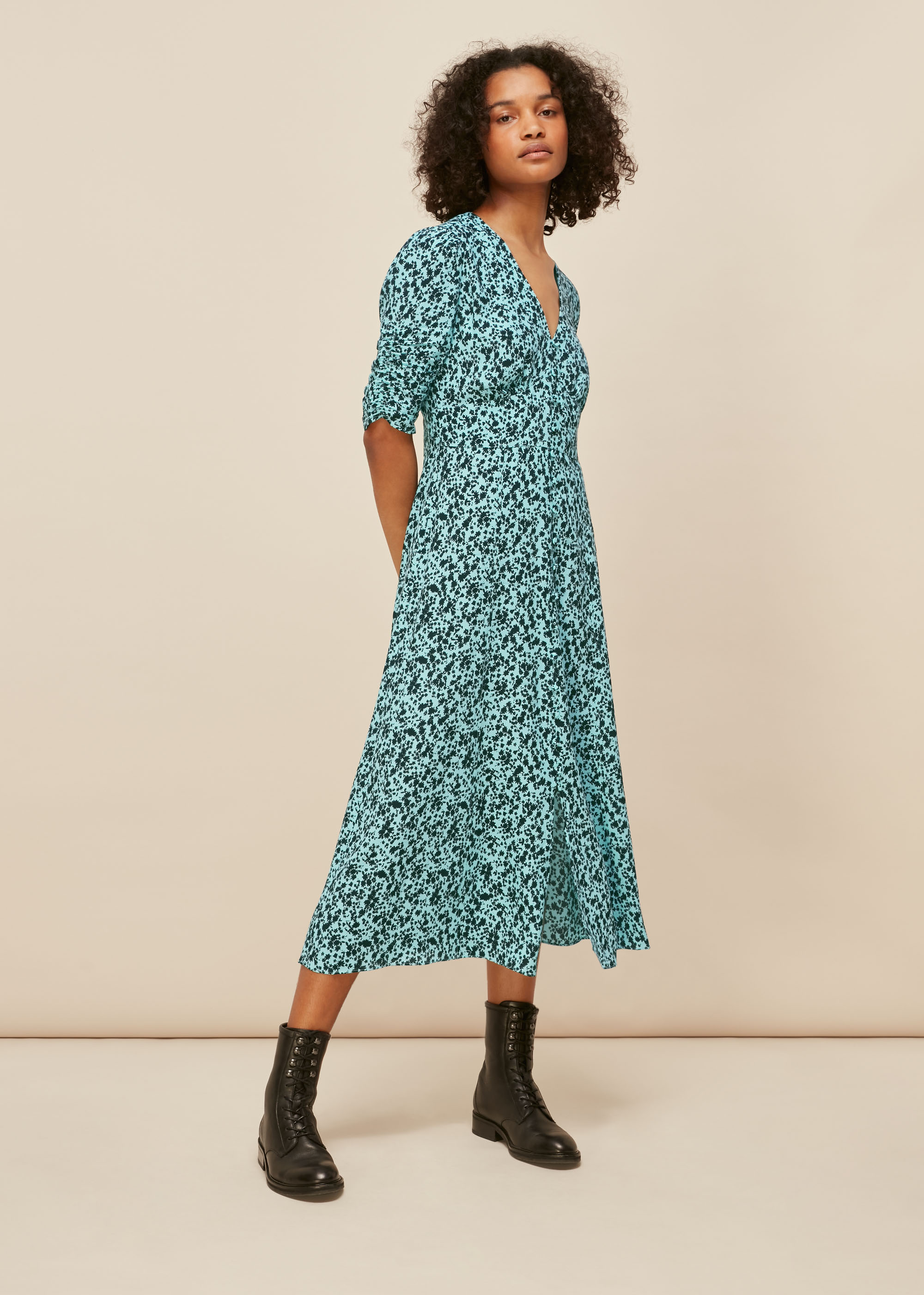 Whistles Women Midnight Meadow Floral Dress