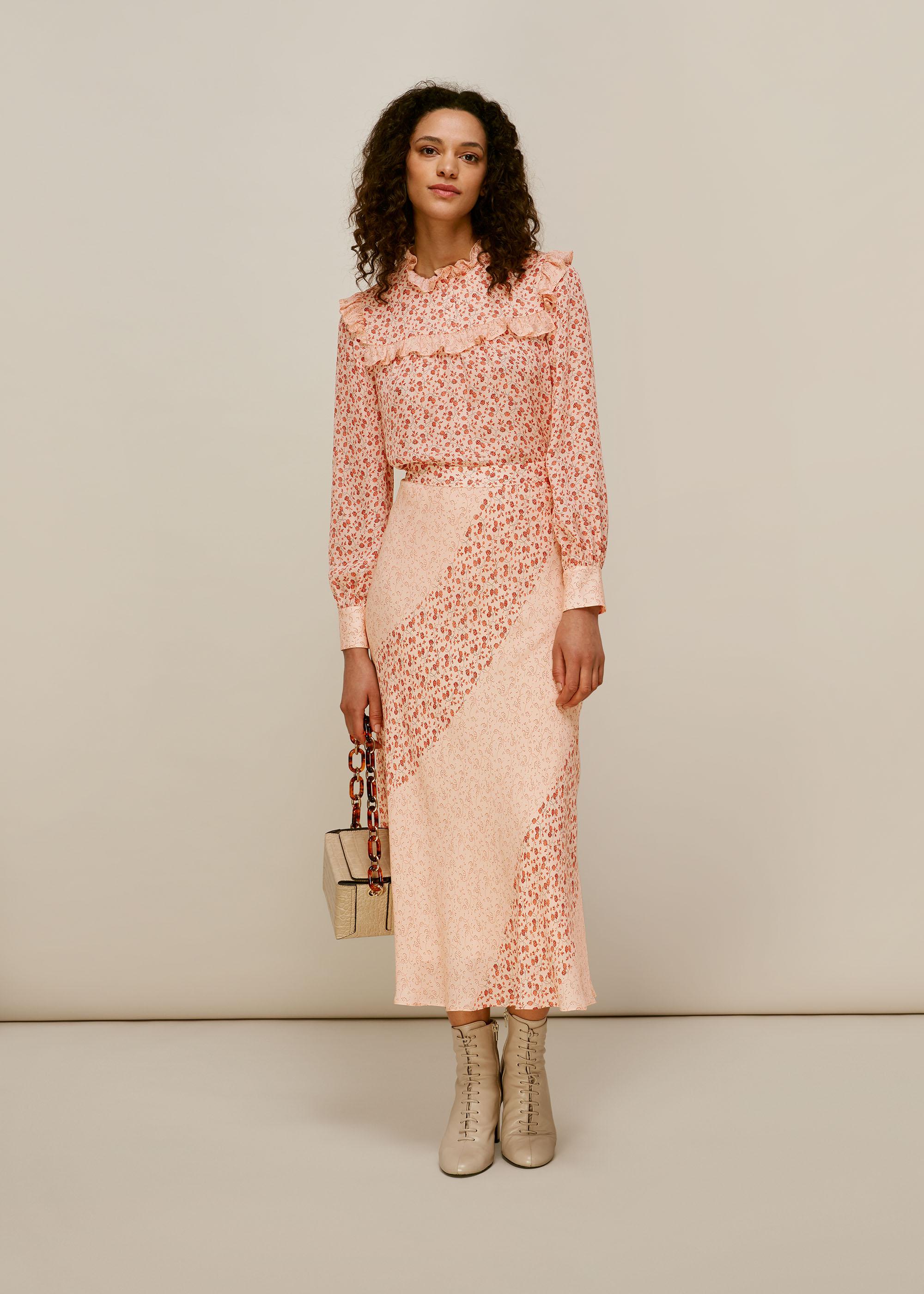 Whistles Women Flower Berry Print Silk Skirt