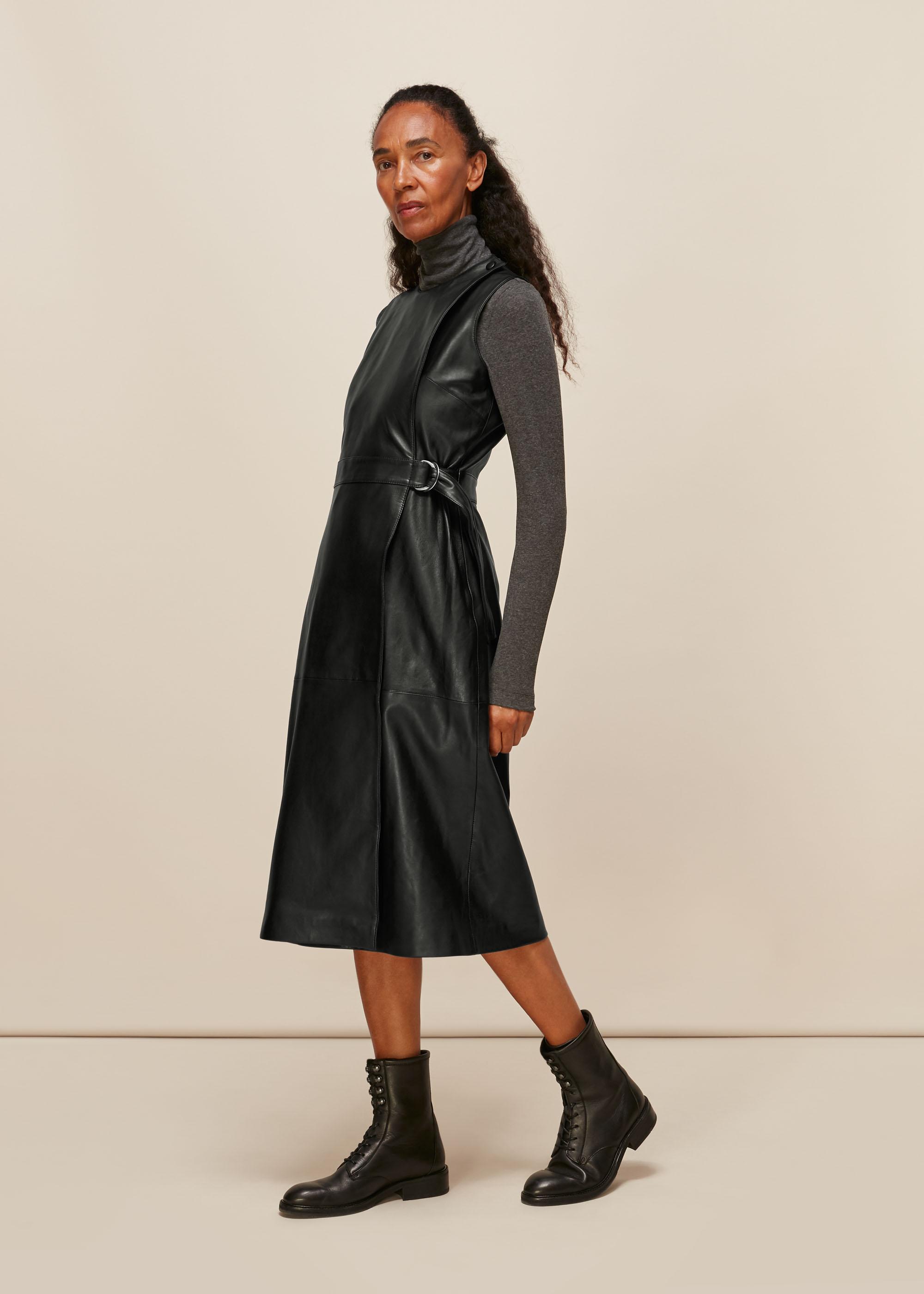 Whistles Women Leather Shift Dress