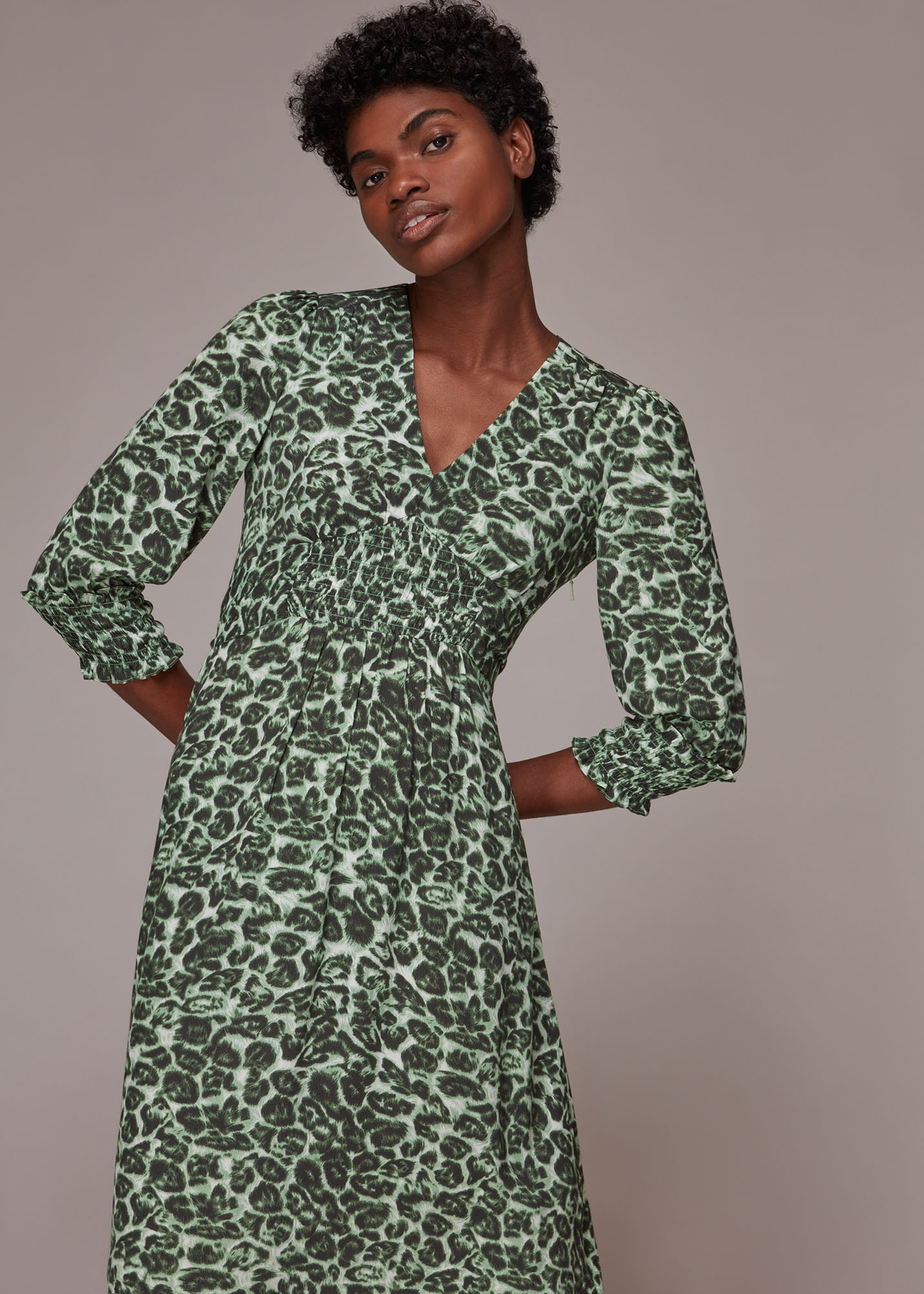 Whistles Women Clouded Leopard Shirred Dress