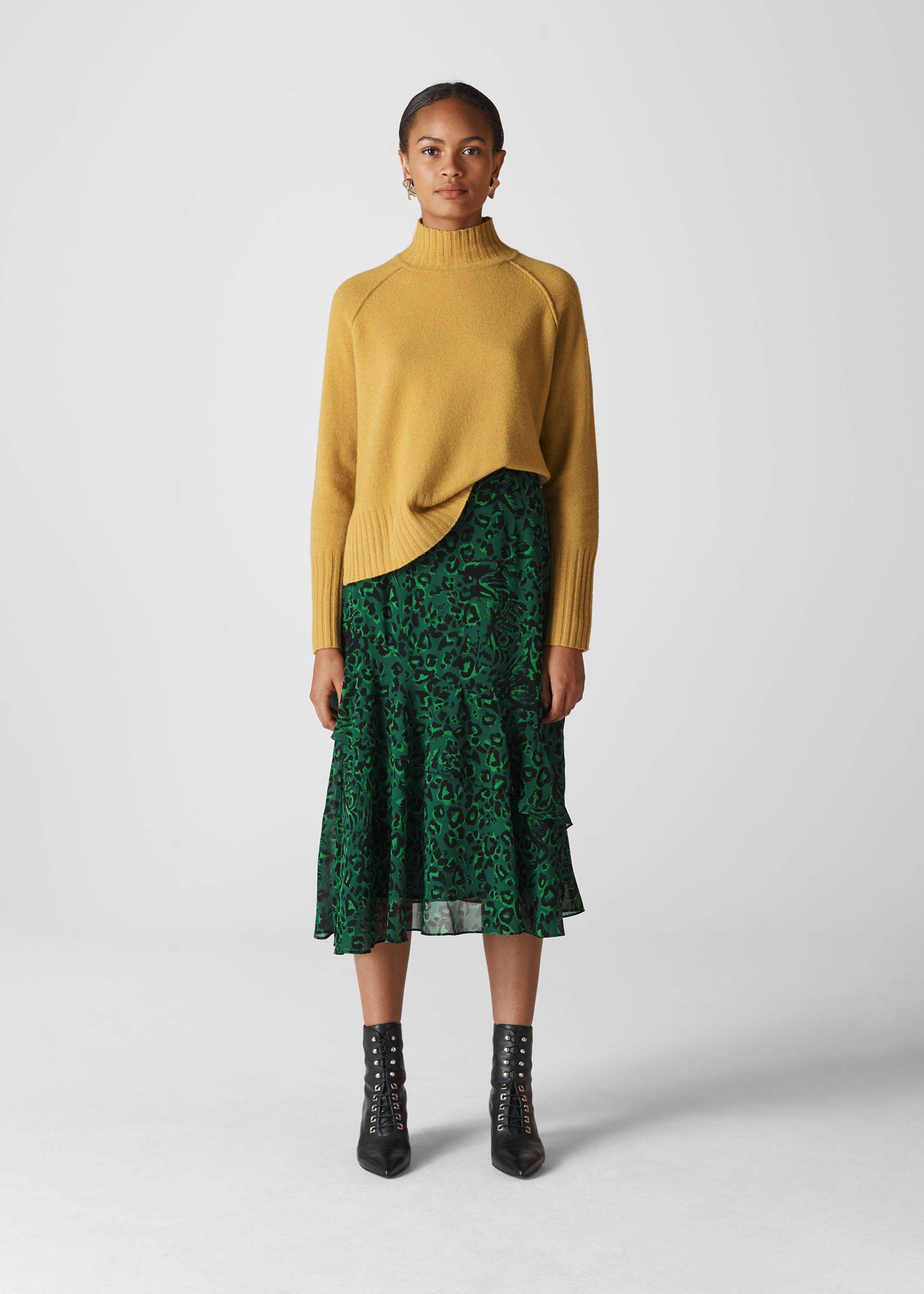 Whistles Women Jungle Cat Print Skirt