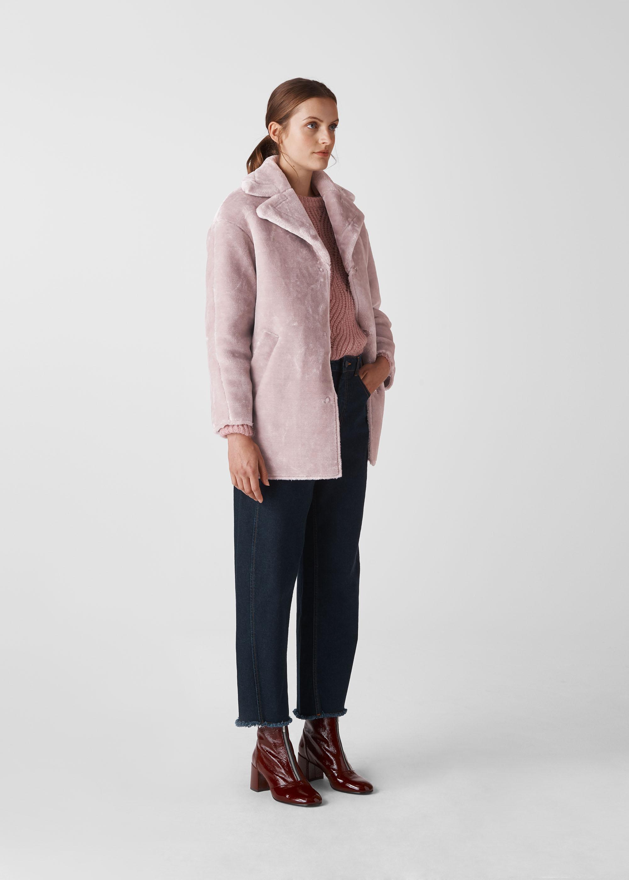 Whistles Women Faux Fur Cocoon Coat