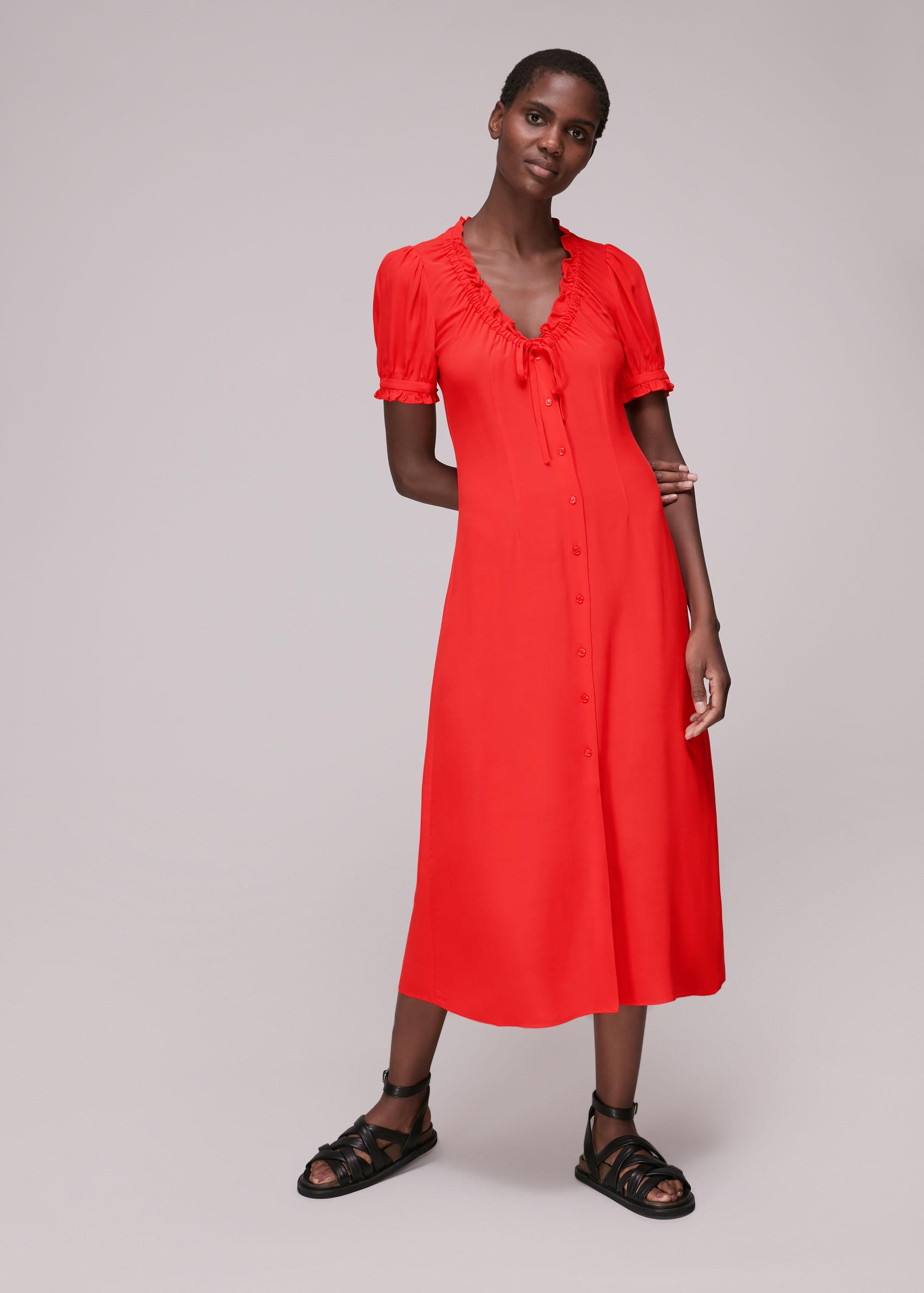 Whistles Women Ada Ruched Detail Midi Dress