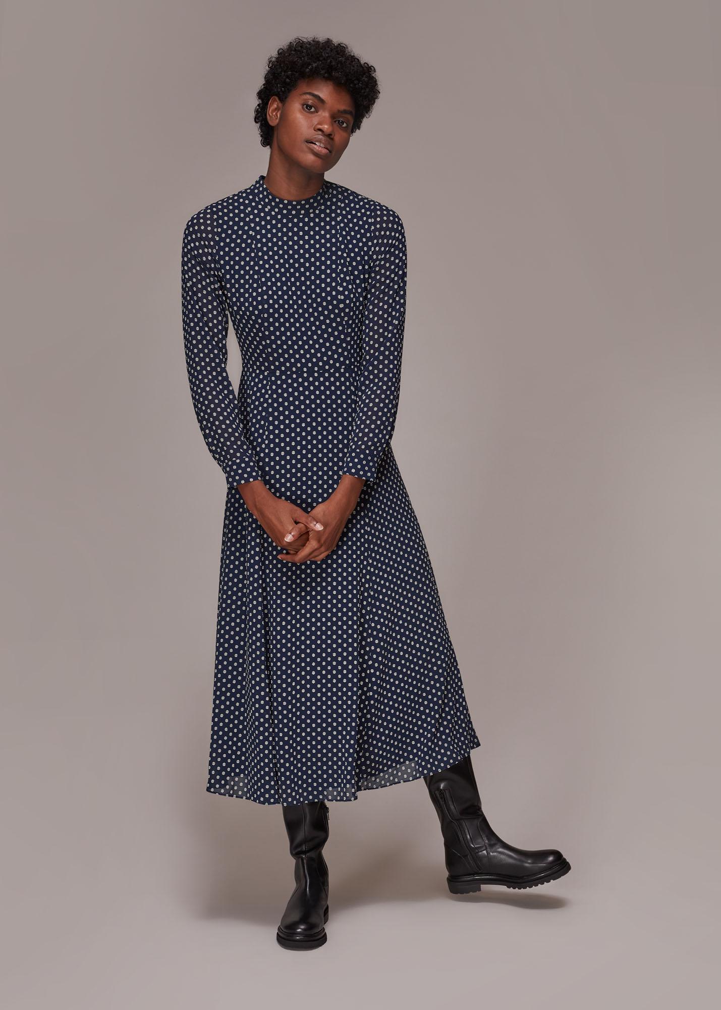 Whistles Women Dobby High Neck Dress