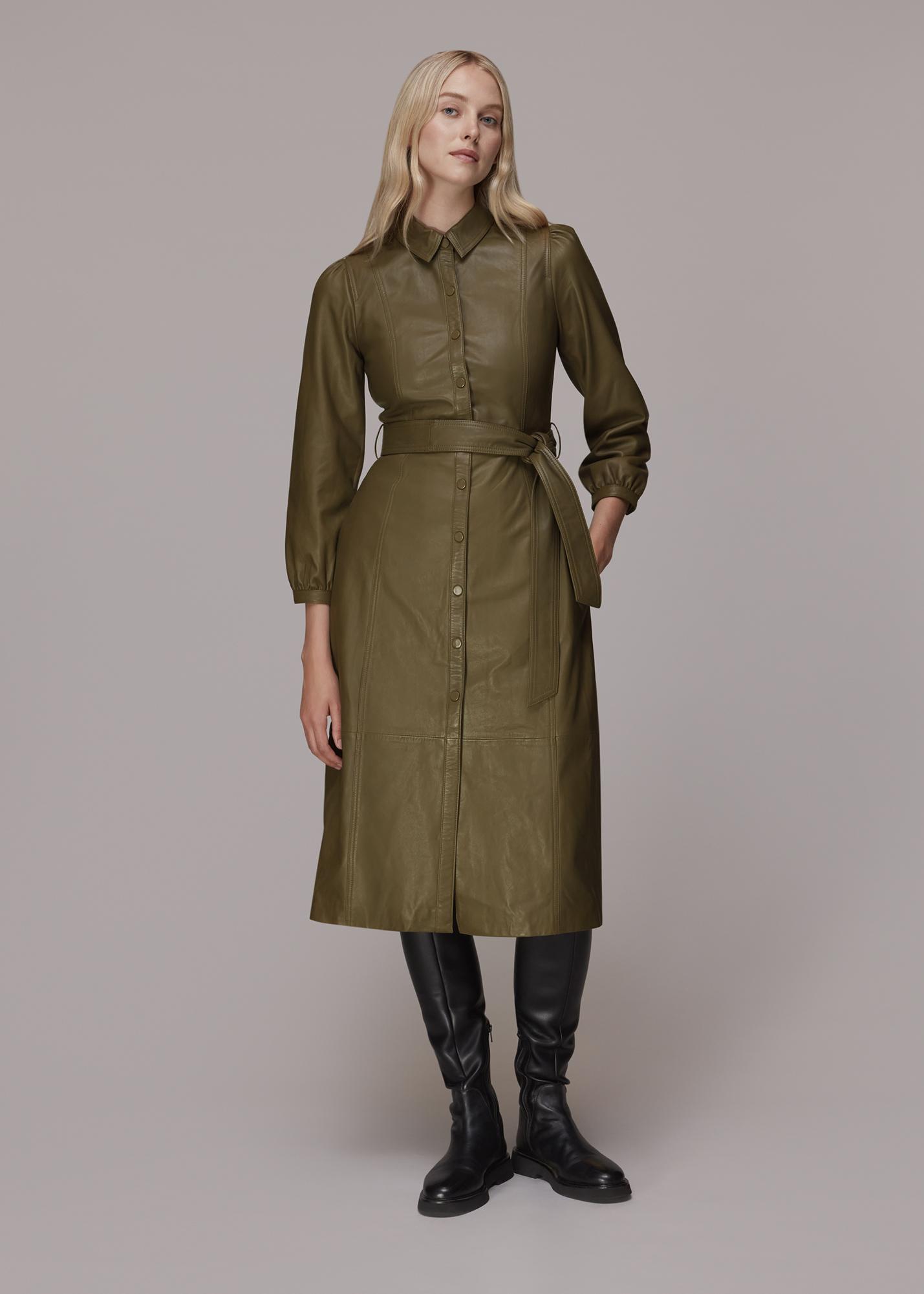 Whistles Women Phoebe Leather Shirt Dress
