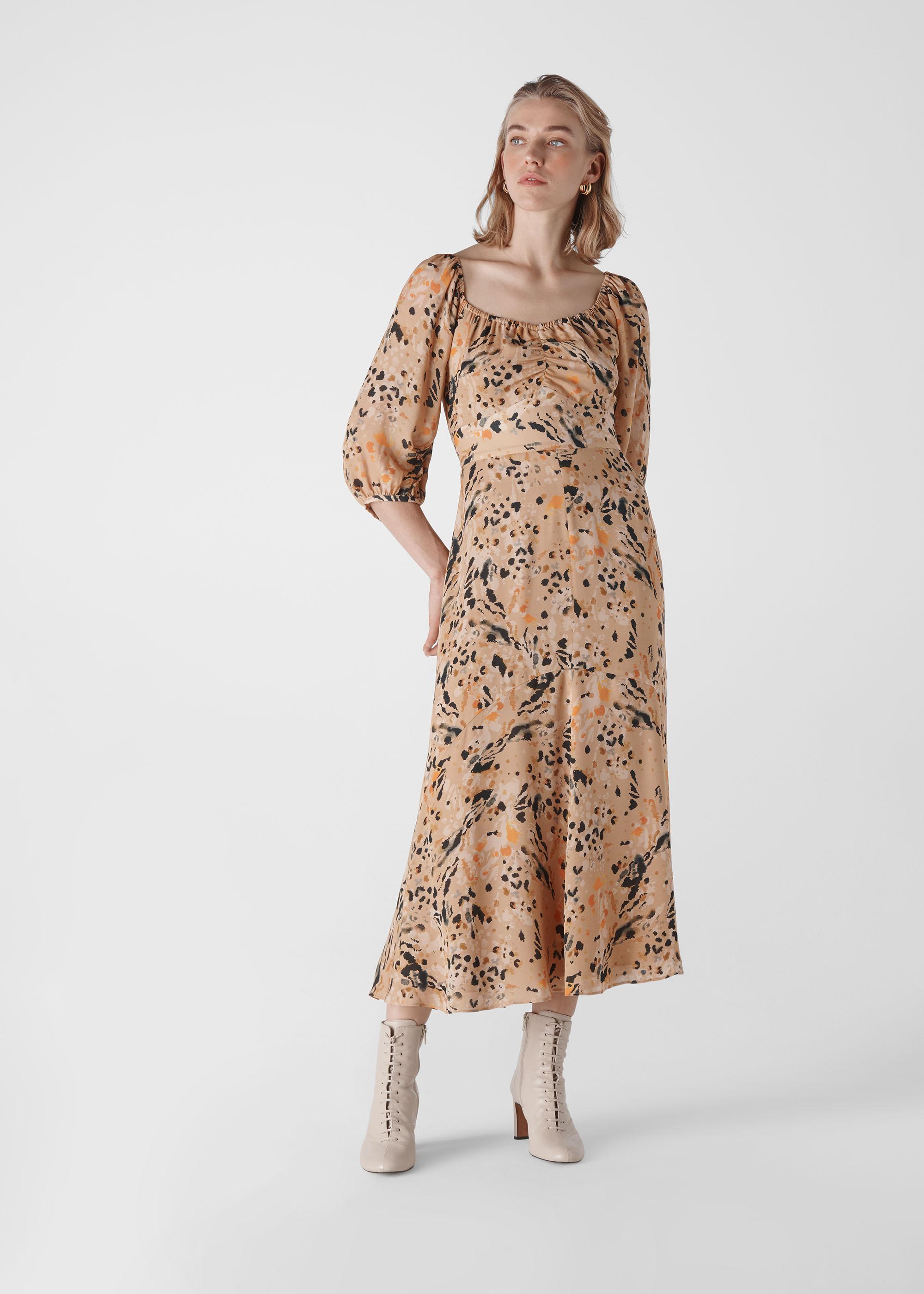 Whistles Women Leopard Print Silk Dress