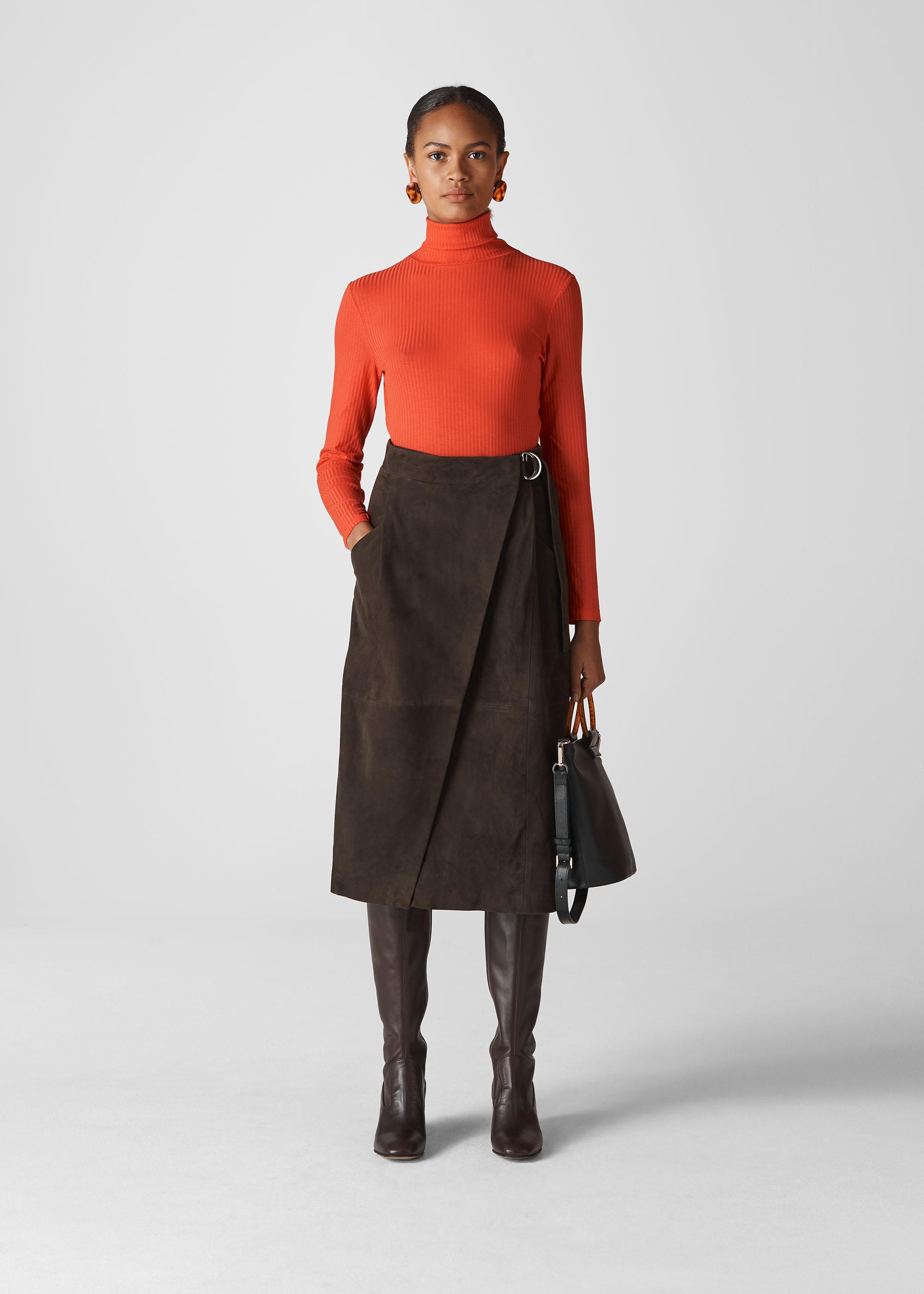 Whistles Women Suede Wrap Midi Skirt