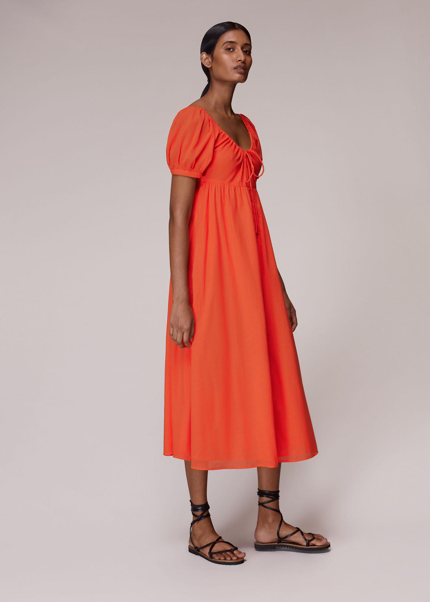 Whistles Women Tie Detail Elouise Midi Dress