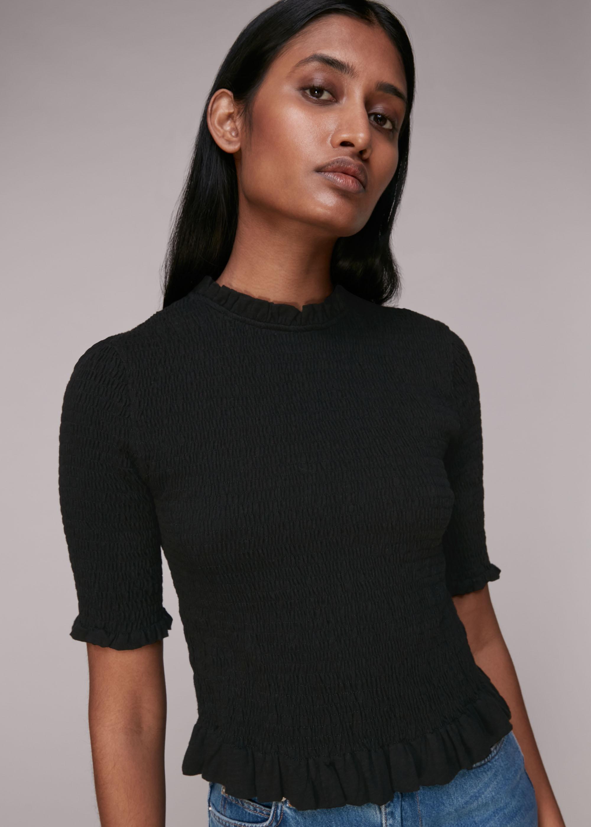 Whistles Women Short Sleeve Shirred Top