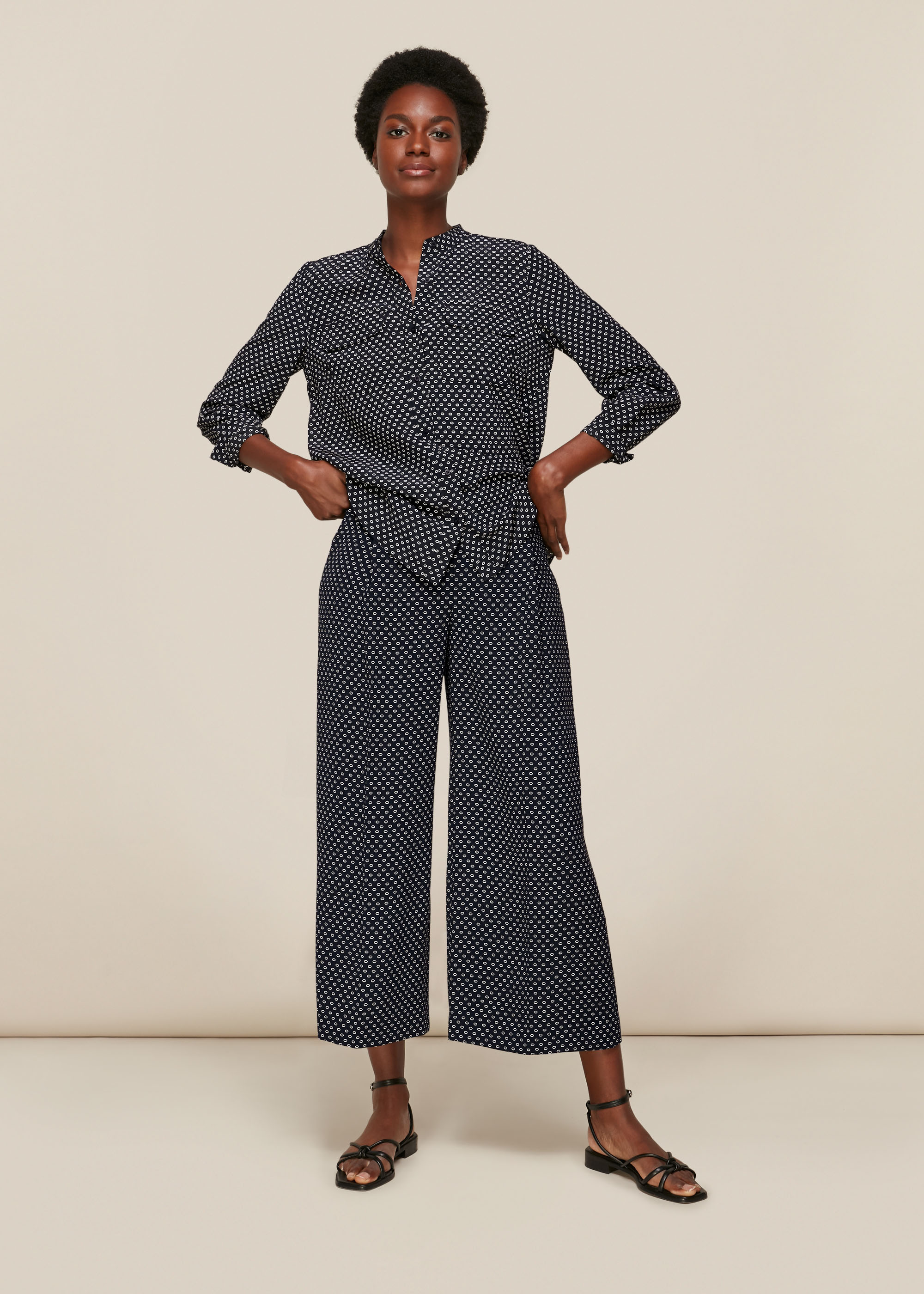 Whistles Women Circle Spot Print Silk Blouse