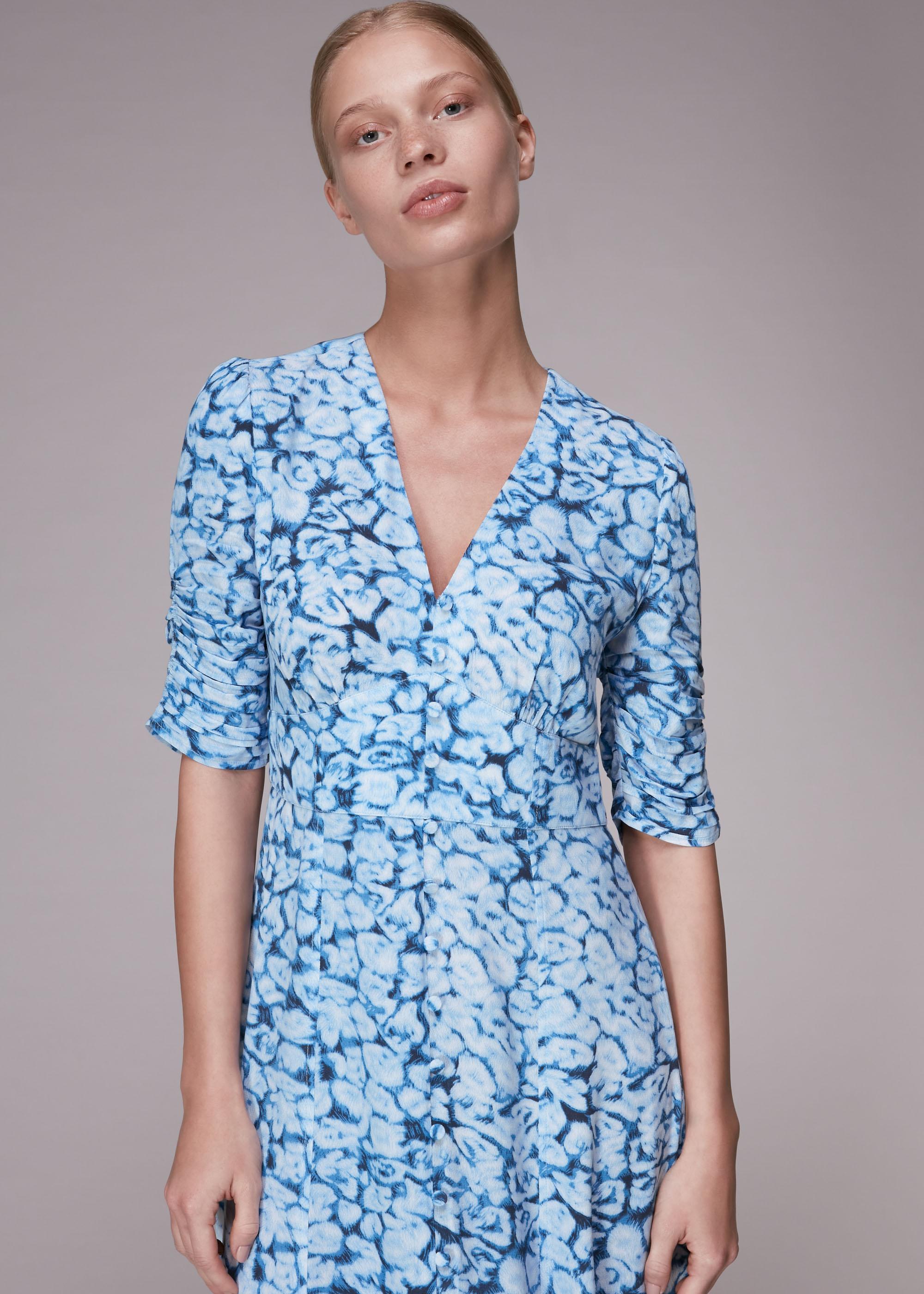 Whistles Women Clouded Leopard Midi Dress