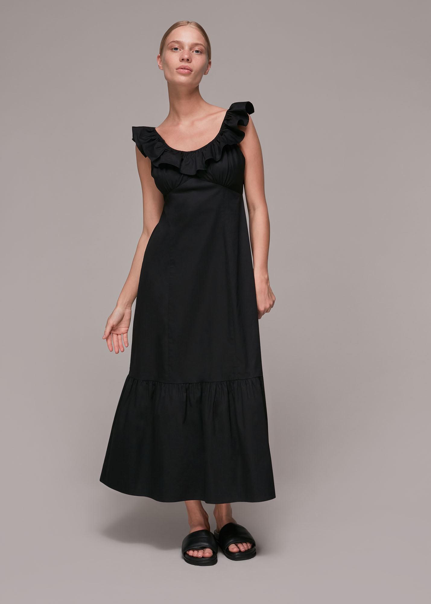 Whistles Women Jemma Frill Poplin Midi Dress