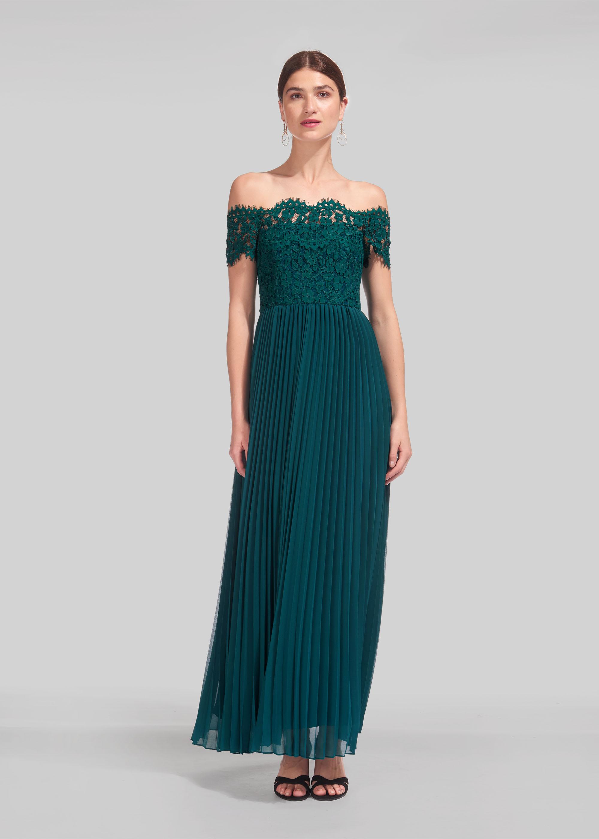 Whistles Women Bardot Lace Pleat Maxi Dress
