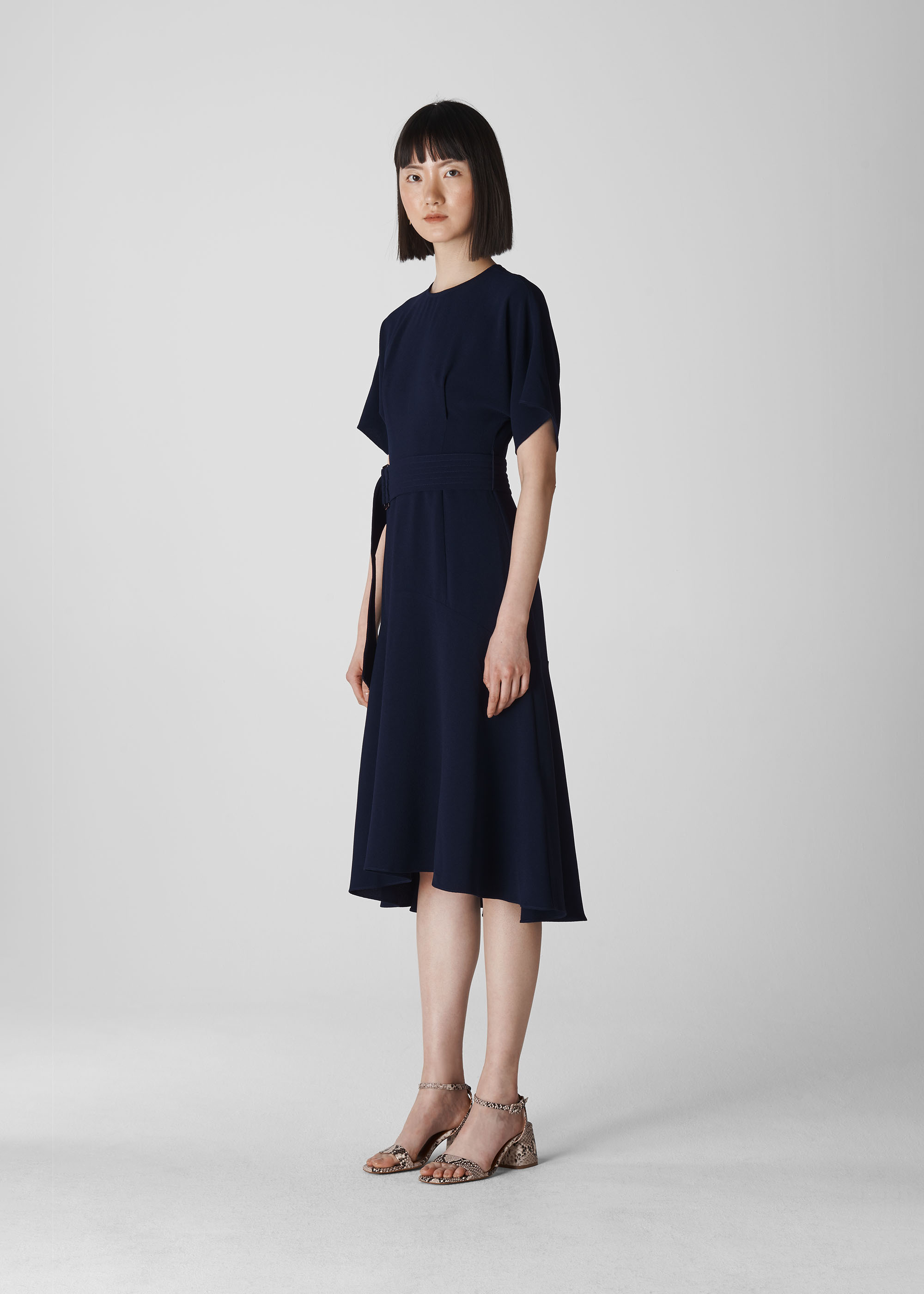 Whistles Women Textured Belted Midi Dress