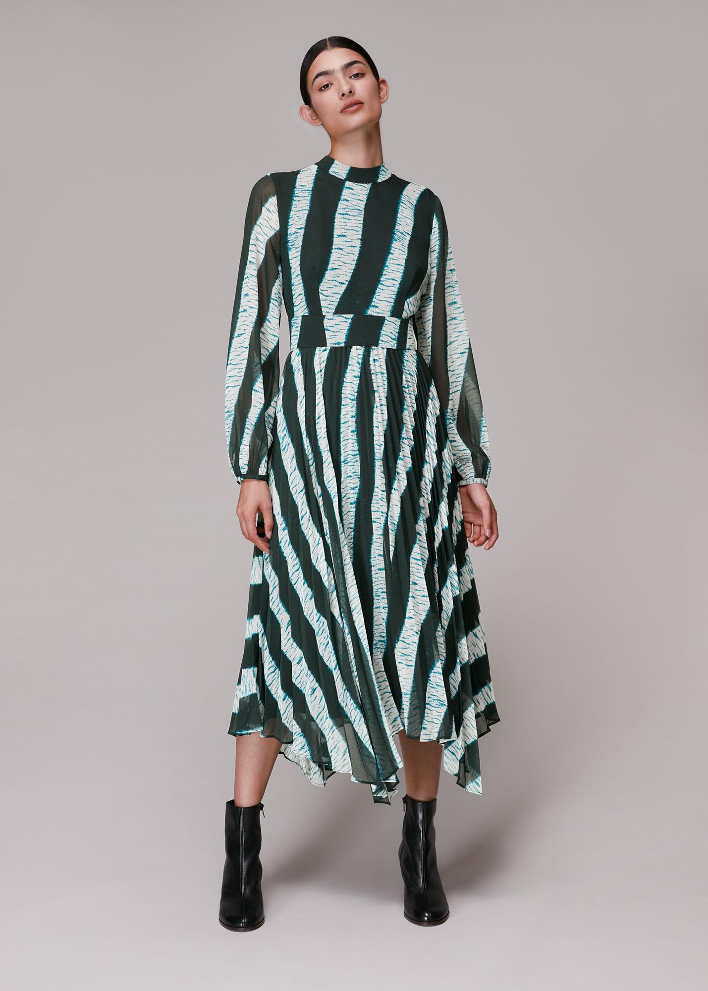 Whistles Women Shibori Print Pleated Dress
